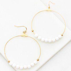 Beats & Beads Hoop Earrings-White